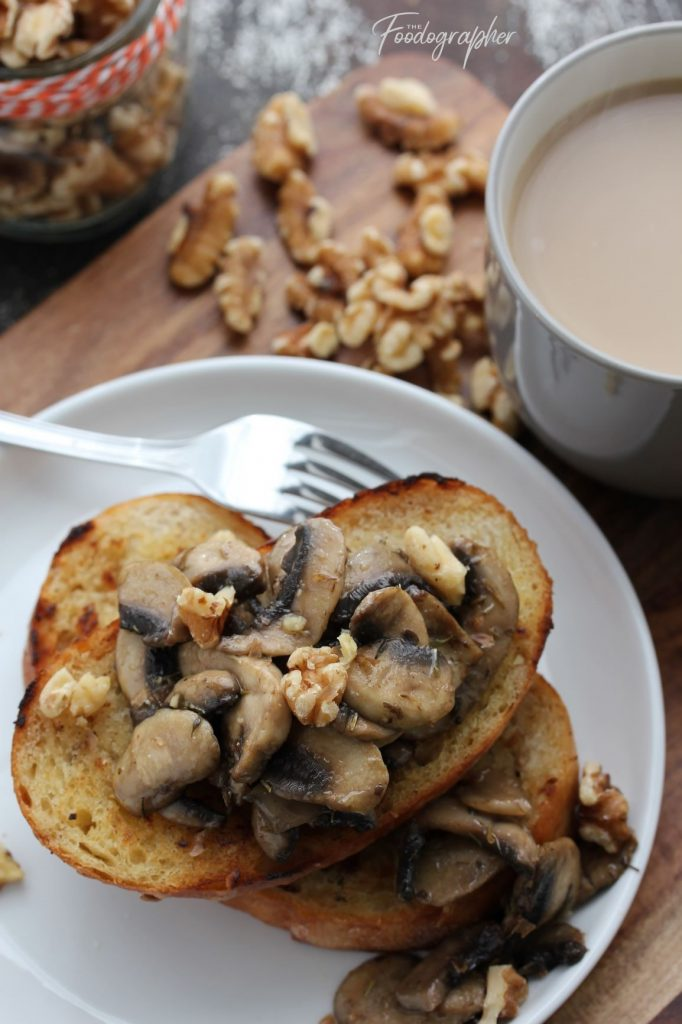Walnut Thyme Mushrooms on Toast